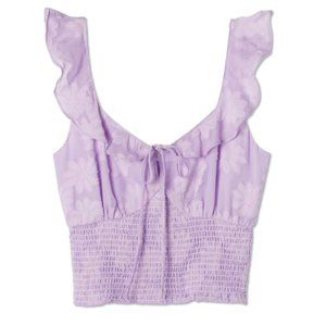 ASTR The Label Eva Floral Ruffle Top in Lavendar